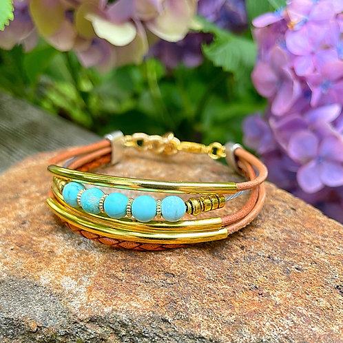 Turquoise Stone Multi-strand Bracelet