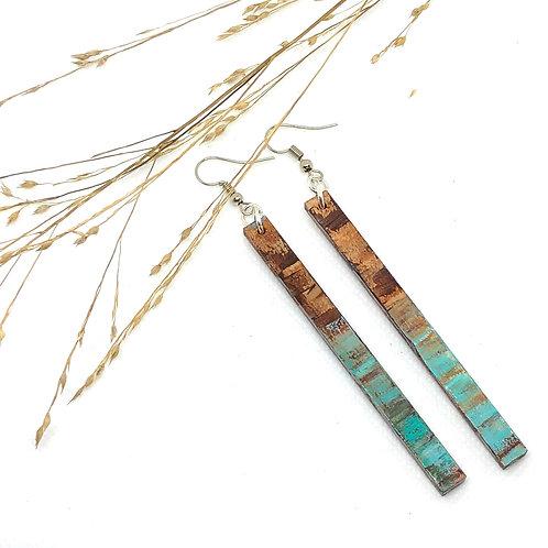 Wood Long Bar Earrings