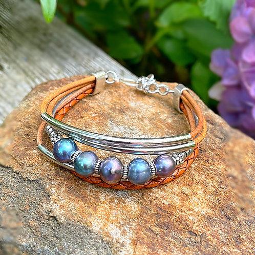Iridescent Pearl Multi-strand Bracelet