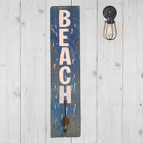 Reclaimed Timber Beach Sign with coat hook