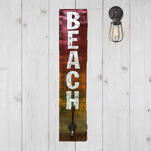 Beach Sign with Coat Hook