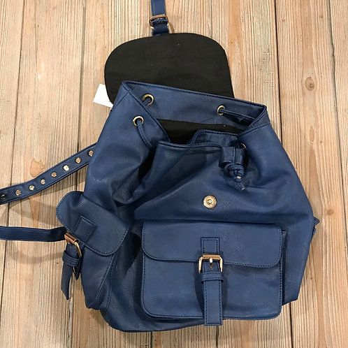 Blue Vinyl backpack/purse