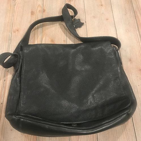 Black Leather Messenger Bag - Valerie Stevens