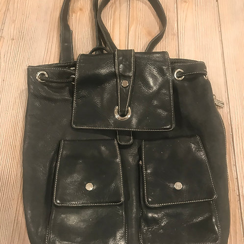 Black Leather Backpack/Purse
