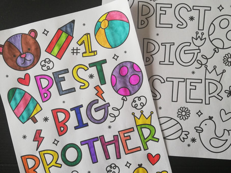 Sibling colouring pages