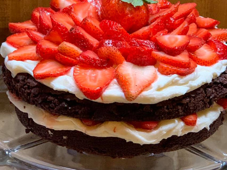 Strawberry Brownie Cake