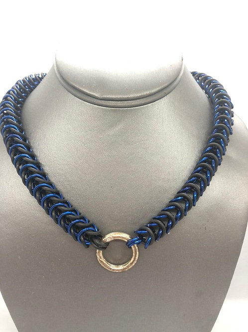 "Box Weave, 5/16"" rings in Black Rubber and Royal Blue Anodized Aluminum"
