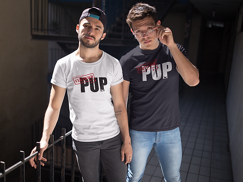 "CERTIFIED Pup T-Shirt - (The word ""Pup"" in Black)"