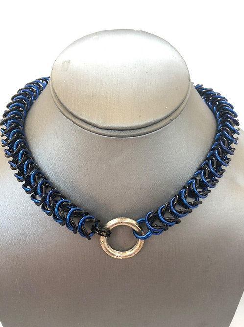 """Box Weave made with 5/16"""" rings in Black and Royal Blue Anodized Aluminum"""