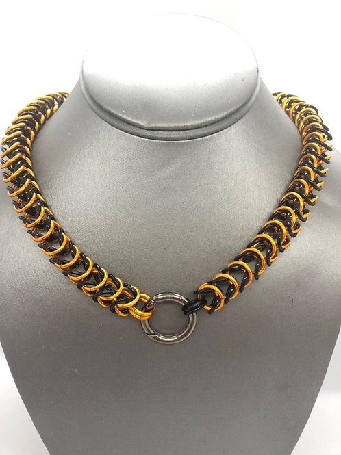 """Box Weave made with 5/16"""" rings in Black and Orange Anodized Aluminum"""