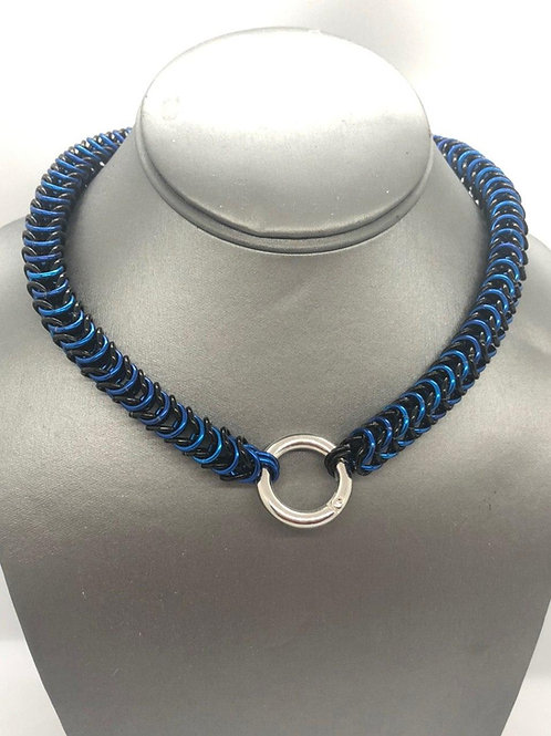 "Box Weave Collar, made with 1/4"" rings in Black and Royal Blue Anodized Aluminum"