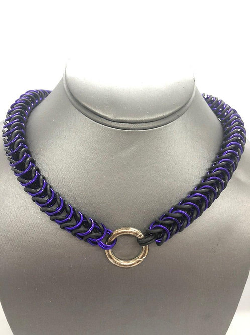 "Box Weave made with 5/16"" rings in Black Rubber and Purple Anodized Aluminum"