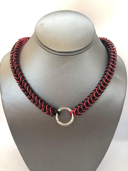 "Box Weave made with 1/4"" rings in Black and Red Anodized Aluminum"