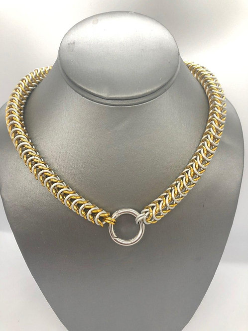 "Box Weave made with 1/4"" rings in Frost and Gold Anodized Aluminum"