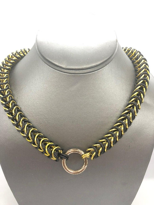 "Box Weave made with 5/16"" rings in Black Rubber and Yellow Anodized Aluminum"