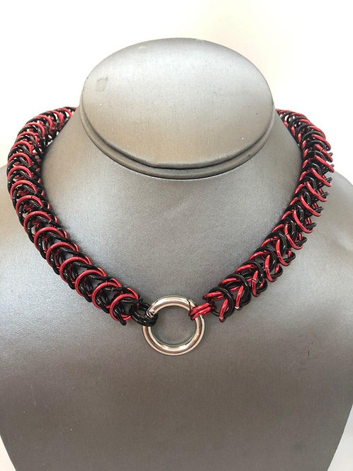 "Box Weave made with 5/16"" rings in Black and Red Anodized Aluminum"