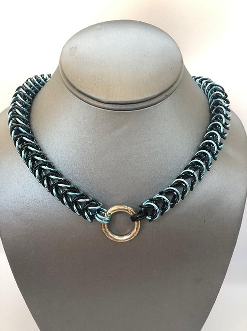 """Box weave made with 5/16"""" rings in Black and Sky Anodized Aluminum"""
