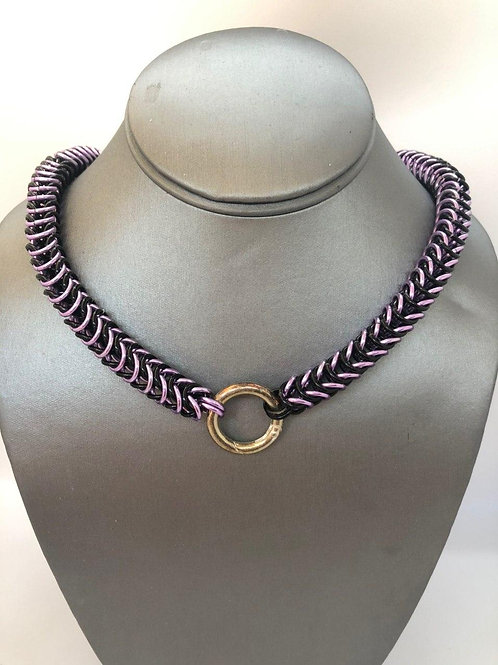 "Box weave made with 1/4"" rings in Black and Lilac Anodized Aluminum"