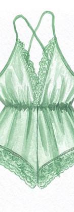 Watercolor green romper
