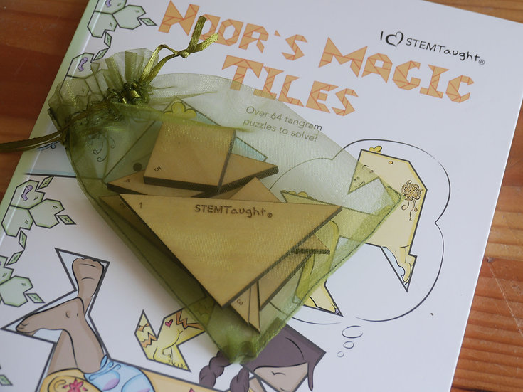 Noor's Magic Tiles (Book and Wooden Tangram Tiles)