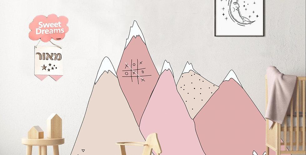 מדבקת קיר - ״נורדיק מאונטיין״ דגם פינק ניוד