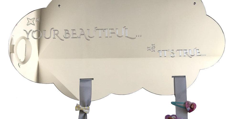 מראת ענן ״ביוטיפול״ - מראה לתליית אביזרים לשיער