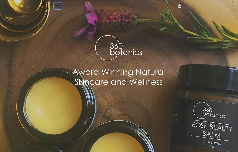 Flatlay image of 360Botanics Web store home page