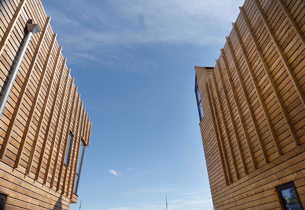 image of two of the wooden eco coworking spaces at Flimwell park
