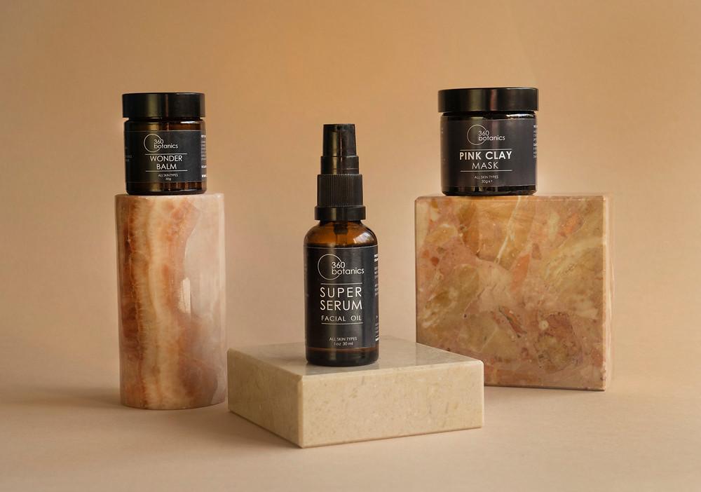 Beauty Product Studio Photography. Skincare and wellness Brand 360 Botanics photography inspiration Super Serum, Pink Clay Mask & Wonder Balm