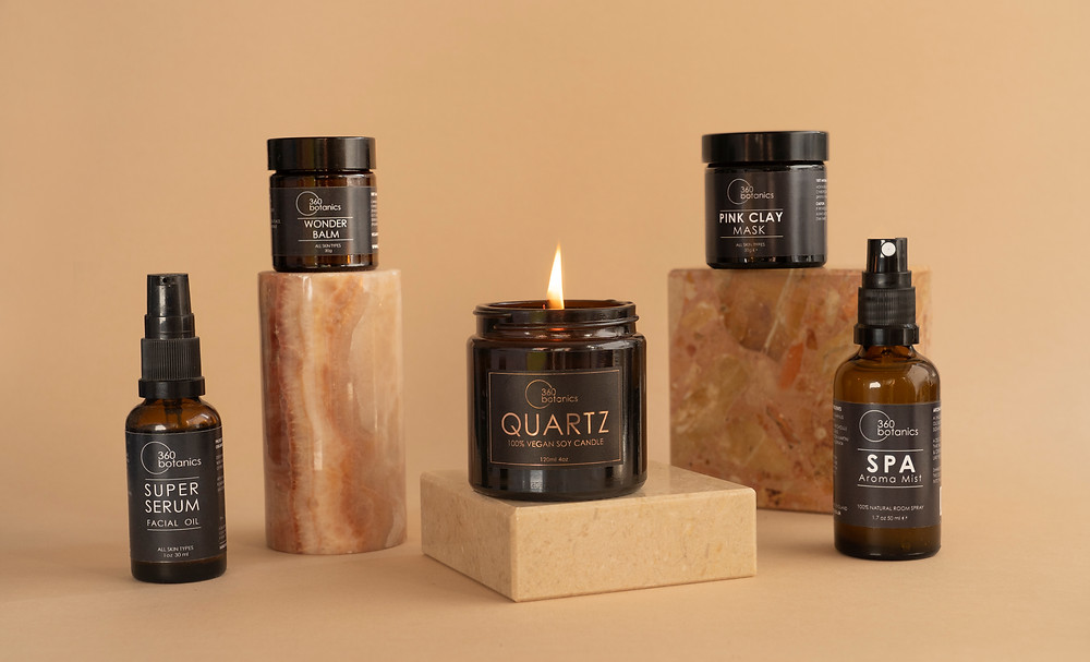 360 Botanics Natural Face Skincare Collection photographed in the studio in Lewes East sussex