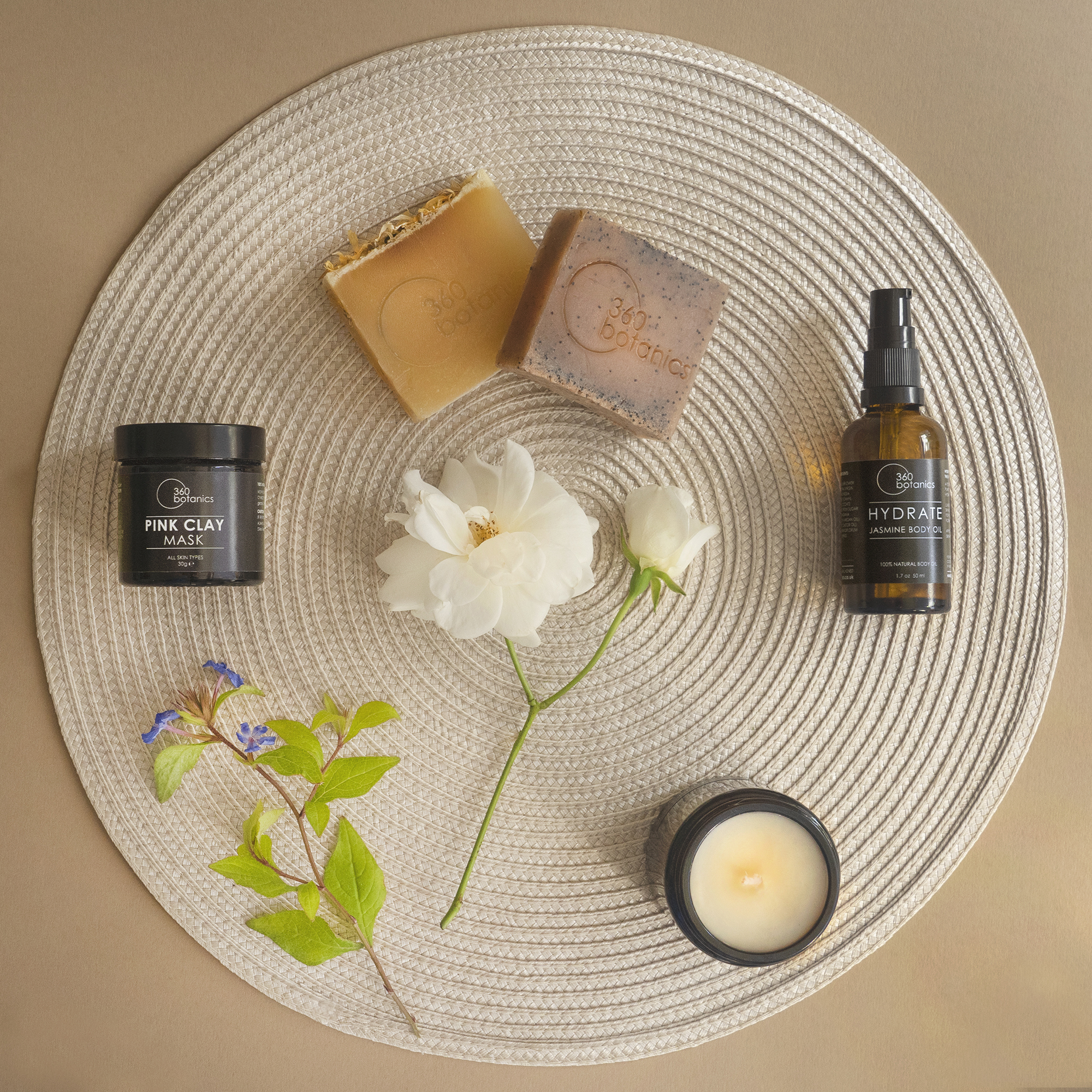 Photography Studio Flatlay Photograph for Vegan Skincare Brand 360 Botanics