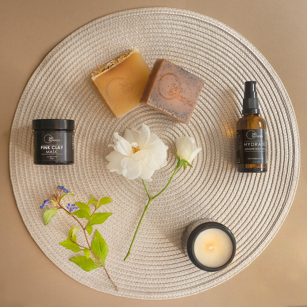 Beauty Product Flatlay Photograph for Natural Skincare Company 360-Botanics