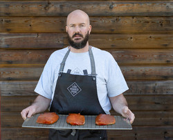 Portrait of The Pished Fish owner James Eagle – 'Booze infused Smoke Salmon' photographed in Sussex