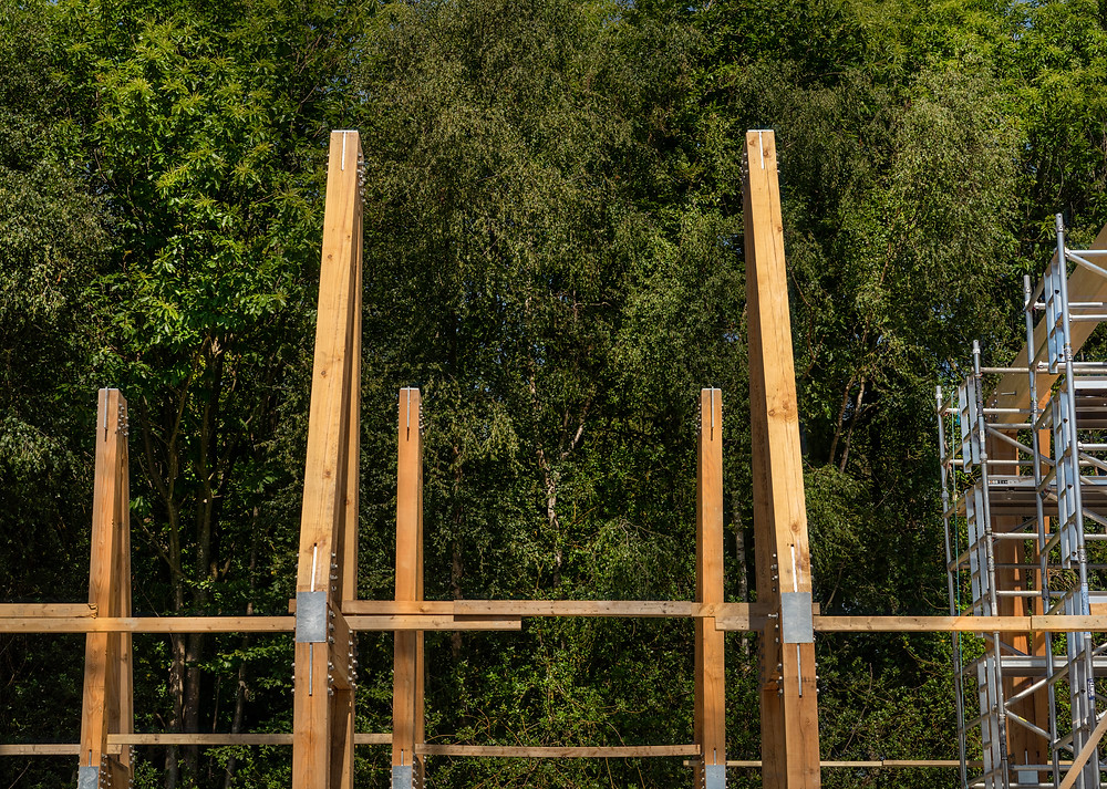 image showing the wooden support beams for the focal building at flimwell