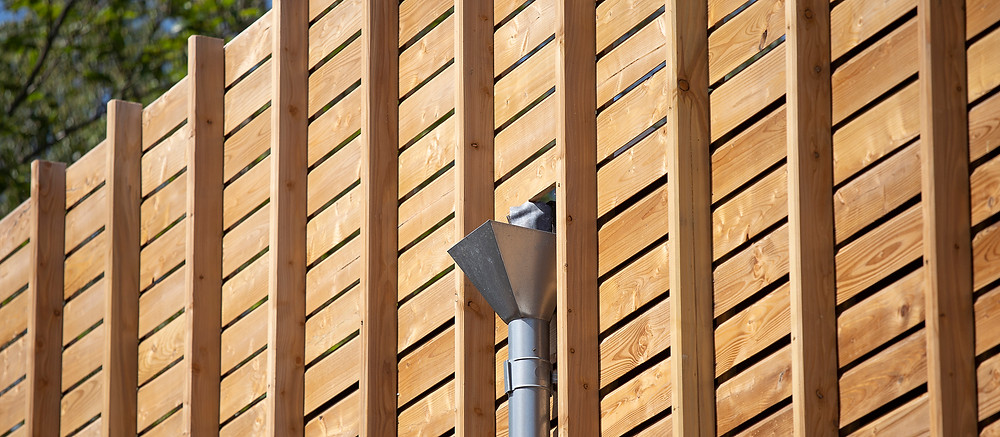 image of eco coworking space side detail including zinc guttering