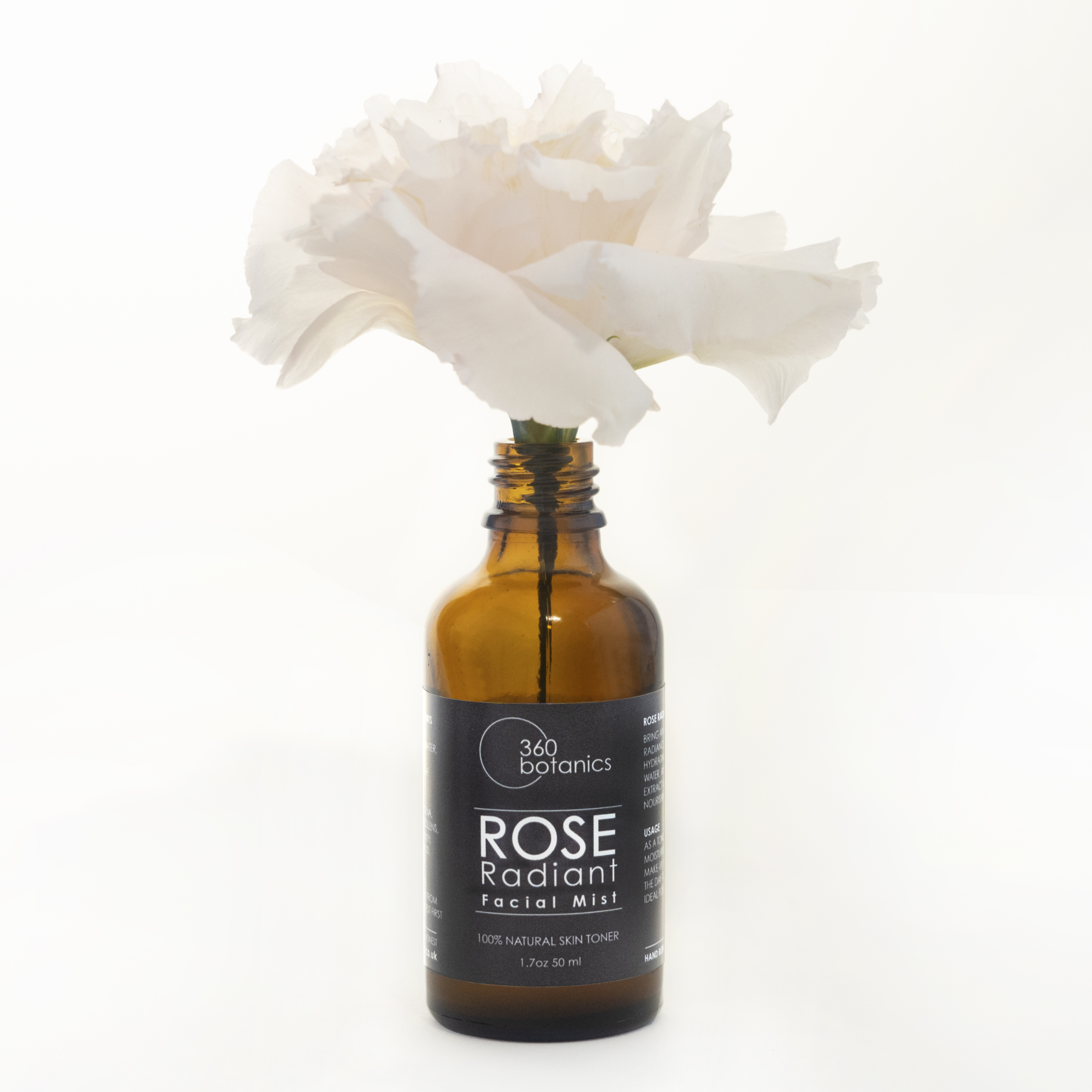 Product photography, Rose Radiant, from a photographic shoot for 360Botanics Vegan Skincare Company