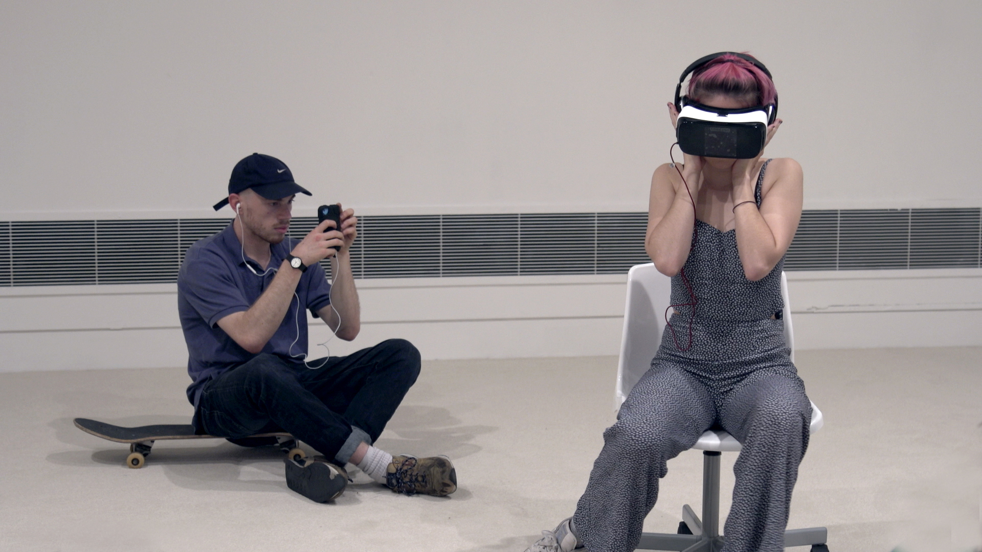 Photography shoot featuring students at CSM Kings Cross wearing Virtual Reality Headsets