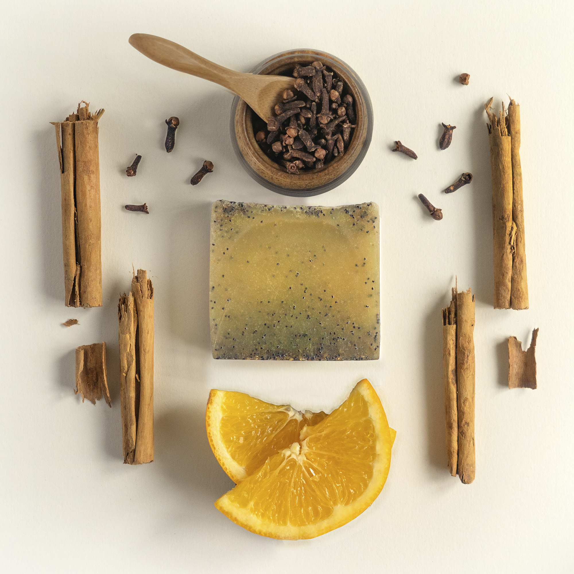 Photo Studio Flatlay Photography for Vegan natural Skincare company 360 Botanics - Winter Spice Soap