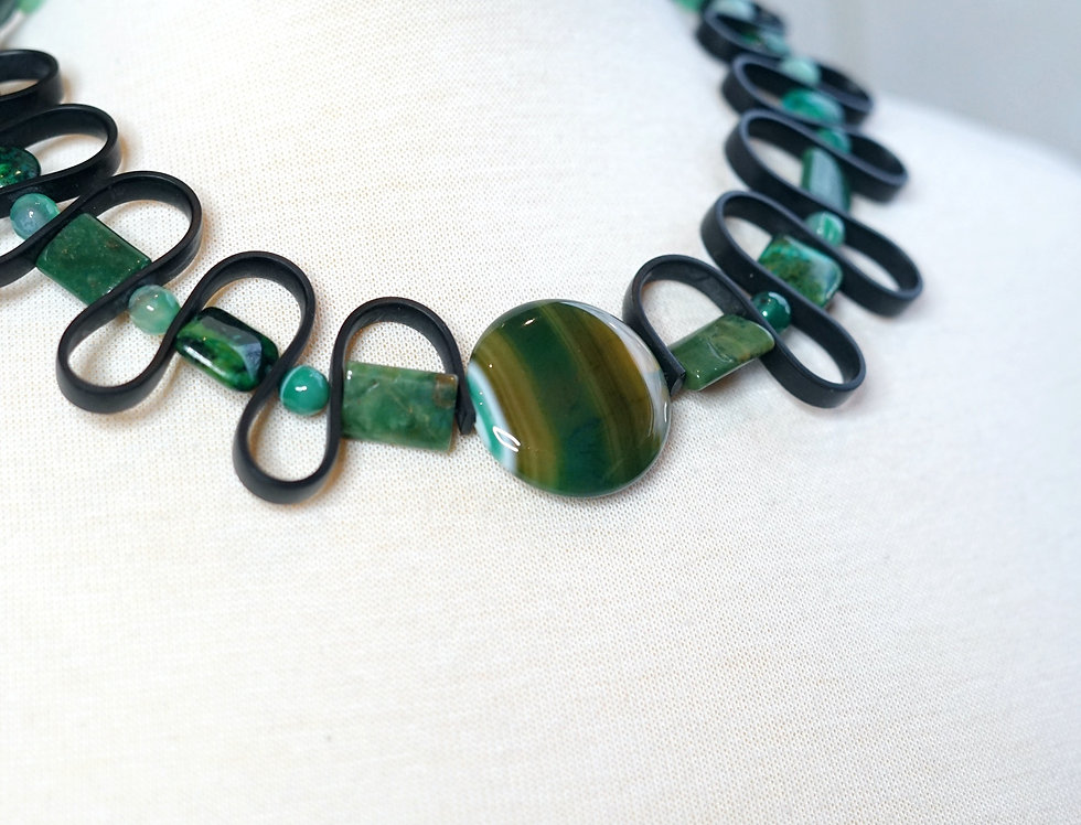 Turquoise Agate Wave Necklace