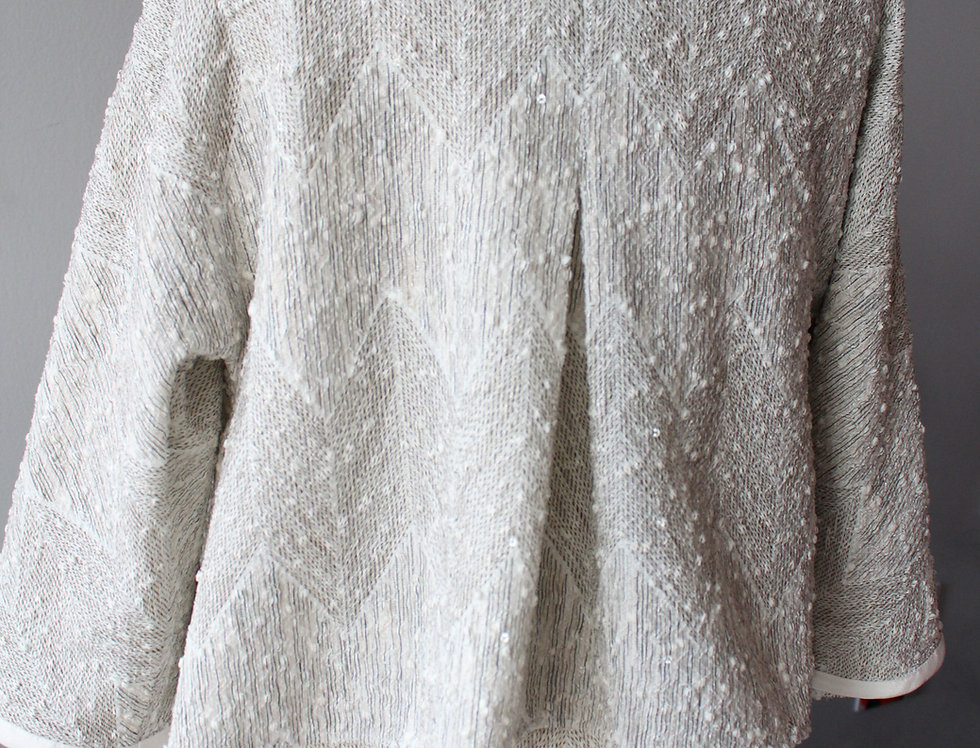 Little zig zag pattern ivory sparkle jacket