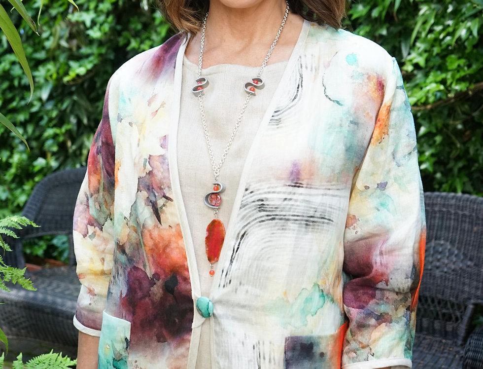 Painterly Peony Short Linen Jacket