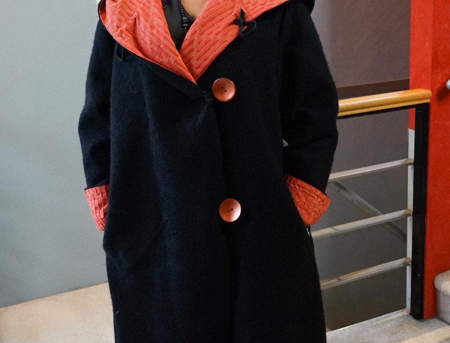 Reversible Black & Tangerine Wool Jacket