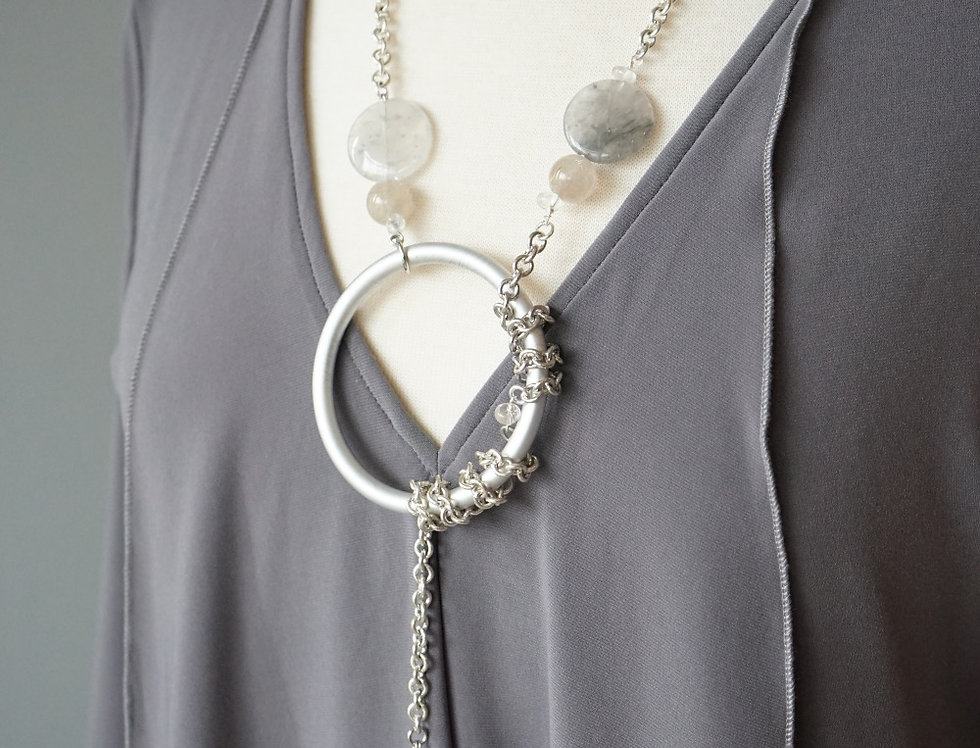 Grey Agate & Silver Lariat Necklace
