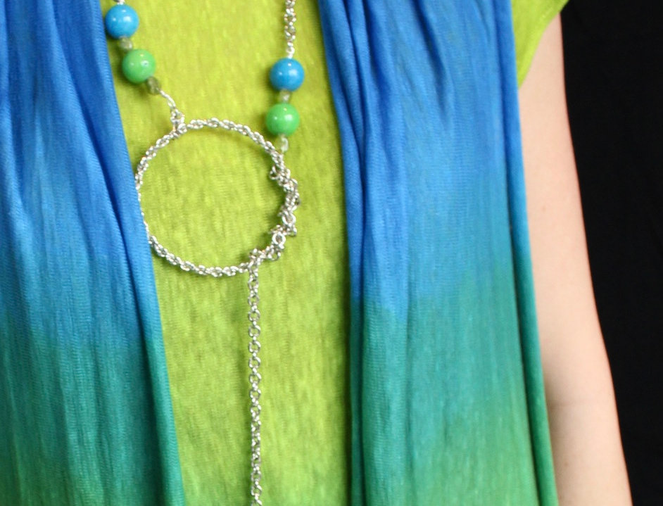 Lariat with blue and green jade