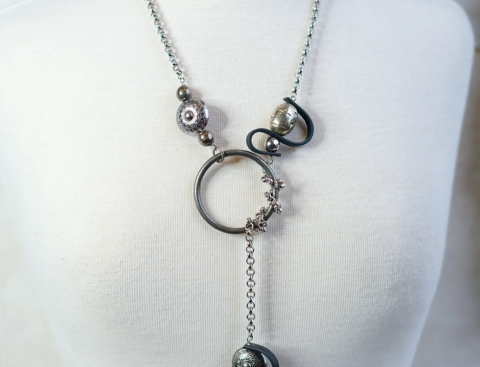 Silver & Rubber Wave Lariat Necklace