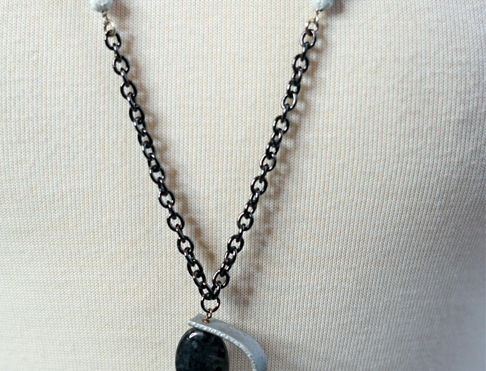 Lava Leather & Quartz Swirl Necklace