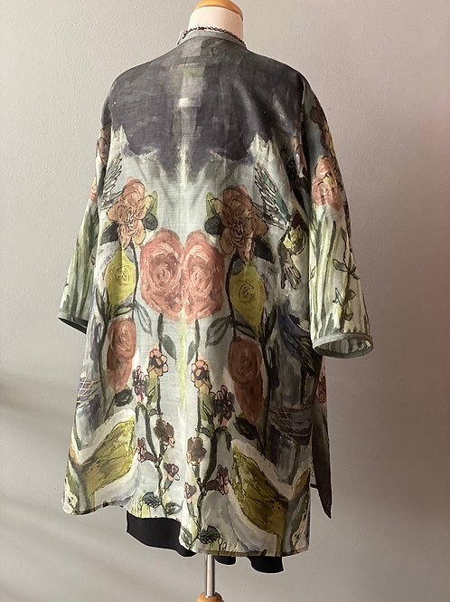 His Eye is in The Sparrow Linen Kimono Coat (Silver)