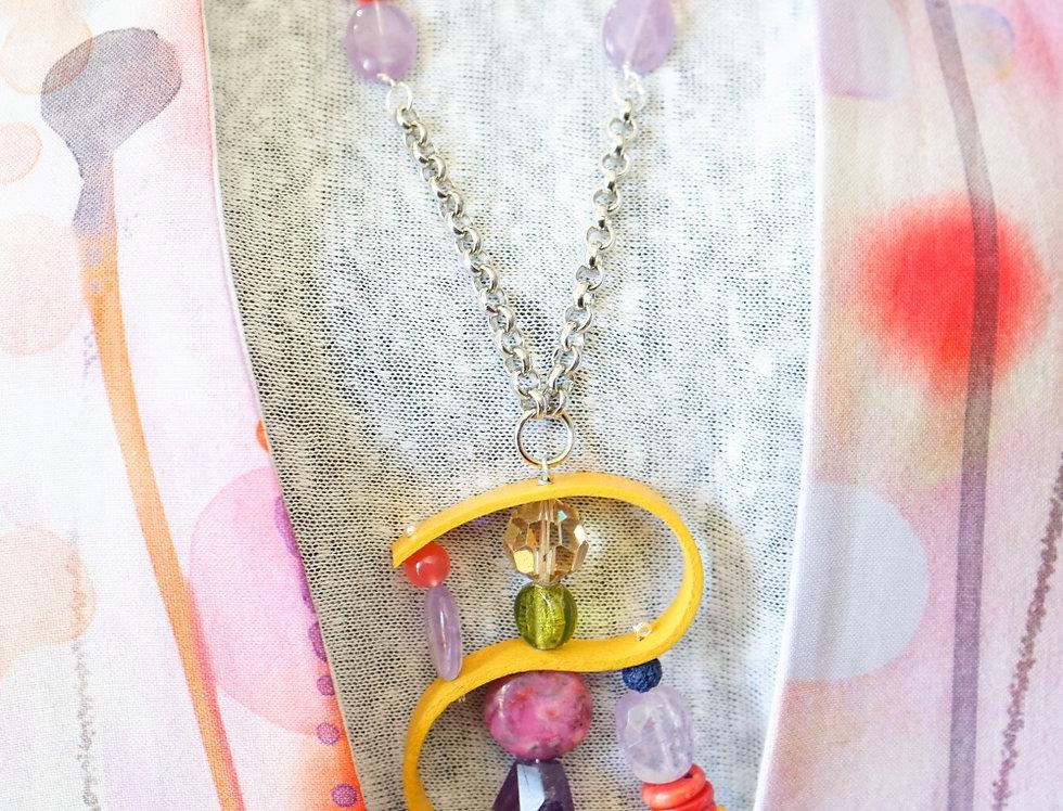 Amethyst & Dijon Leather Pendant Necklace