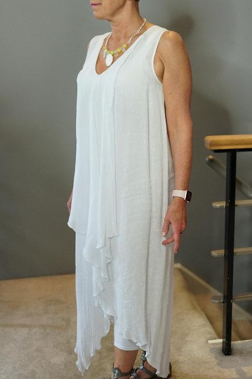 Linen Ruffle Front Dress