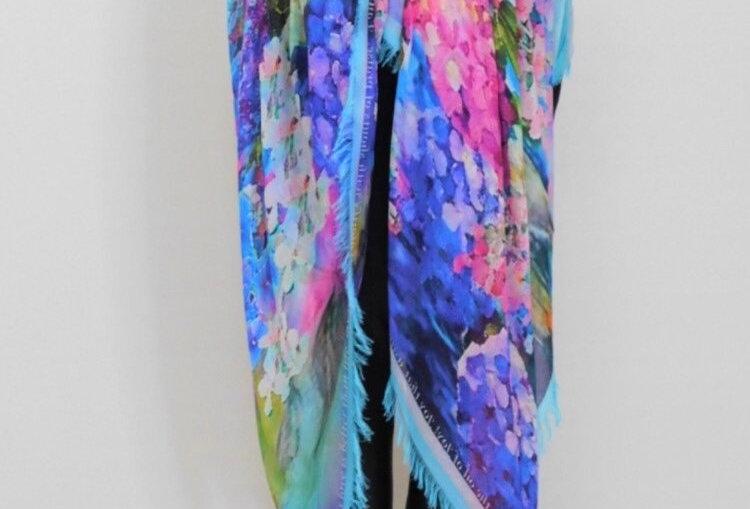 Joy Bomb Hydrangea Silk Scarf